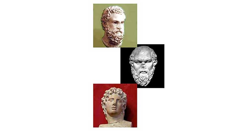 A series of Greek bust images stacked on top of each other
