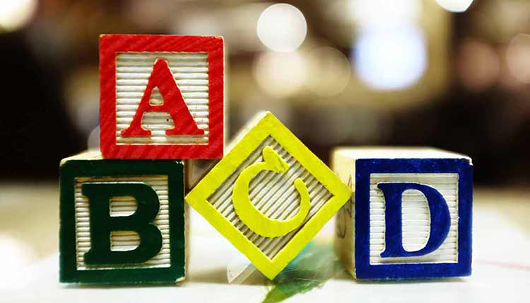 Photograph of a set of child alphabet blocks