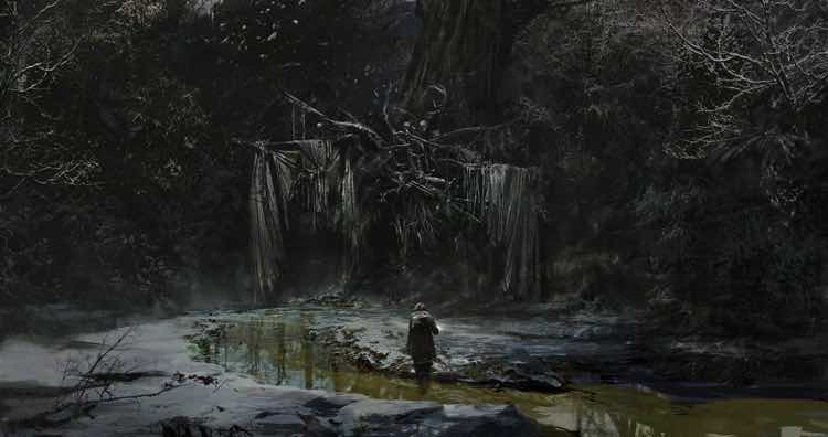 A painting of a lone figure standing in a sickly creek in front of a large tree decorated with sticks, rags and skulls