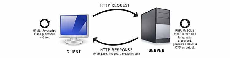 A diagram showing a client-side request, server response, with client-side processing
