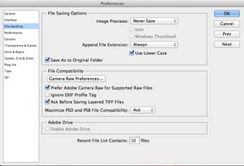 Photoshop File Image Preview Settings