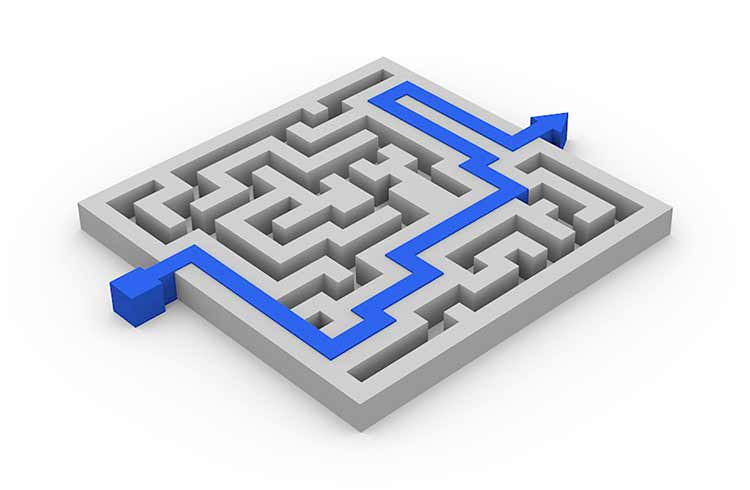 A blue shortcut path through a grey 3D maze