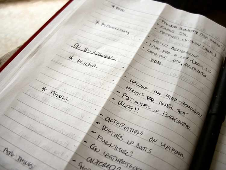Photograph of a to-do list written in a book